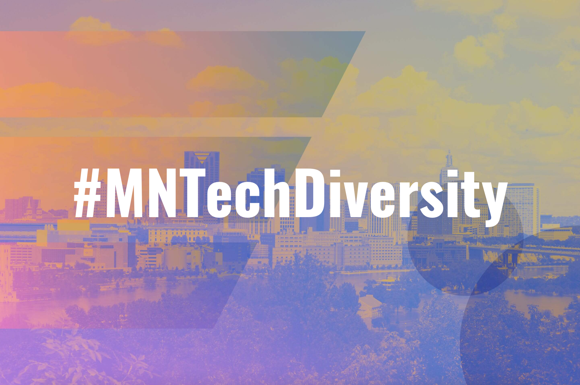 MN Tech Diversity Pledge banner with Minneapolis skyline in the background