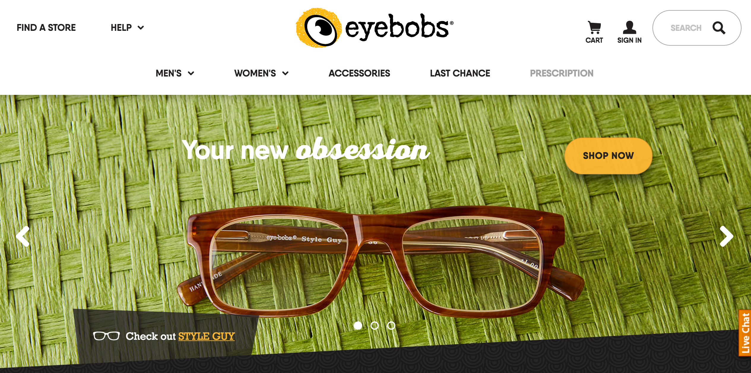 image of eyebobs homepage
