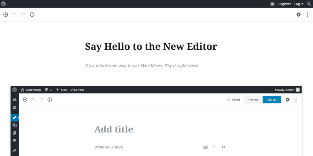Screenshot of WordPress' new Guttenberg editor interface