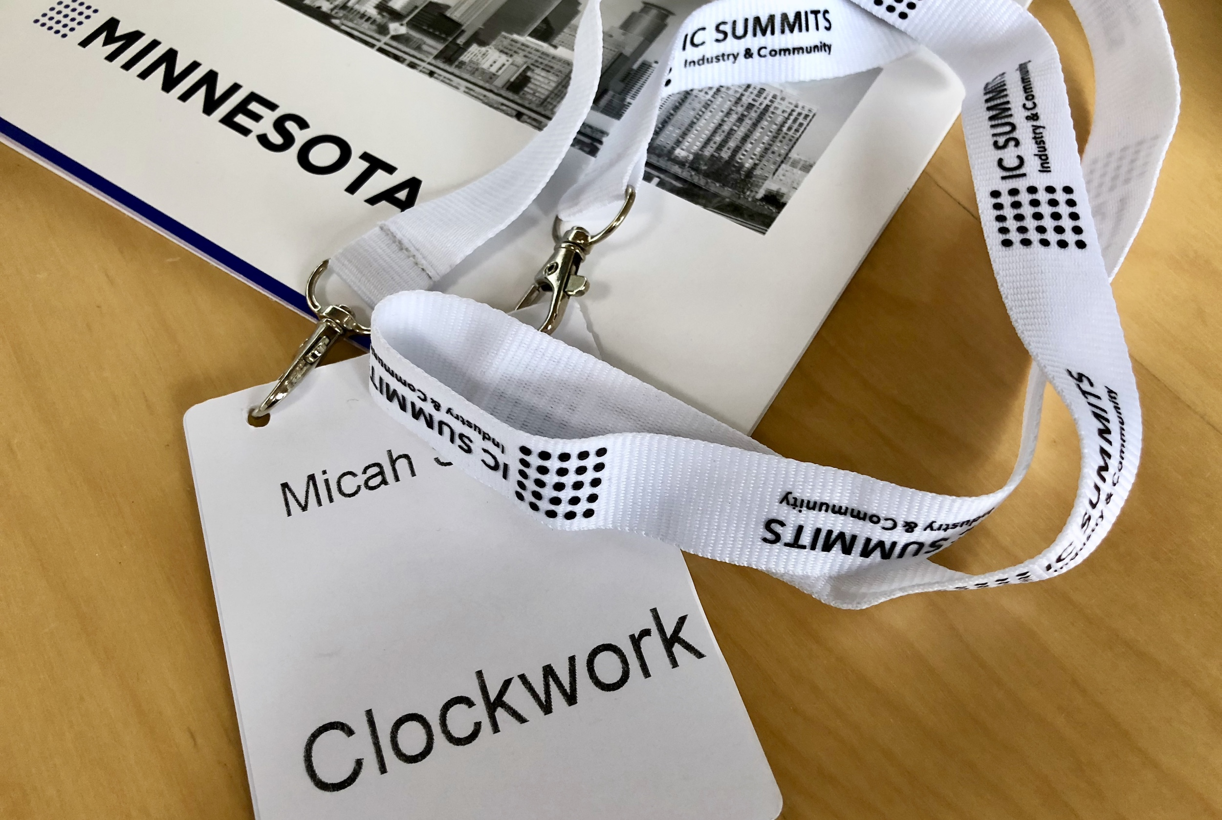 Our Director of Experience's name badge from Minnesota Marketing Summit