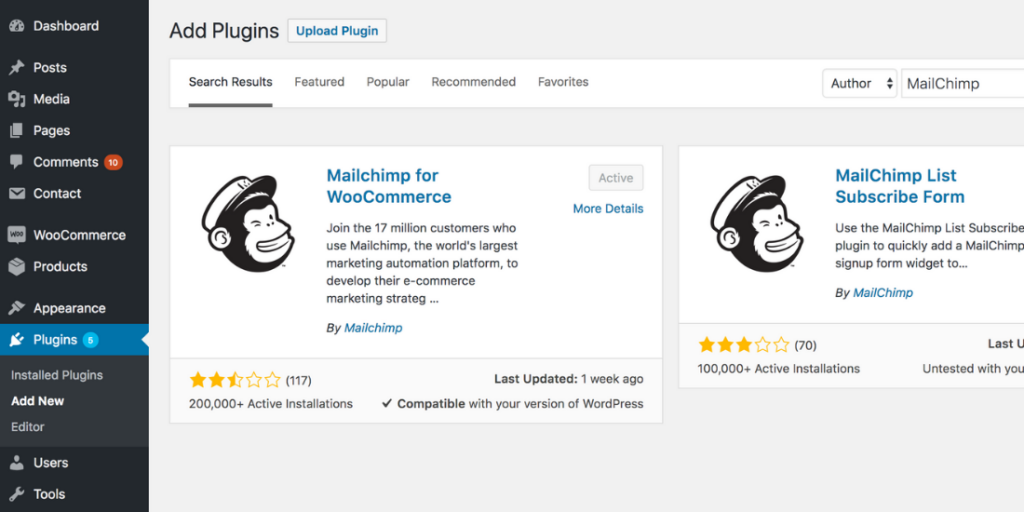 Screenshot of the MailChimp plugin for WordPress