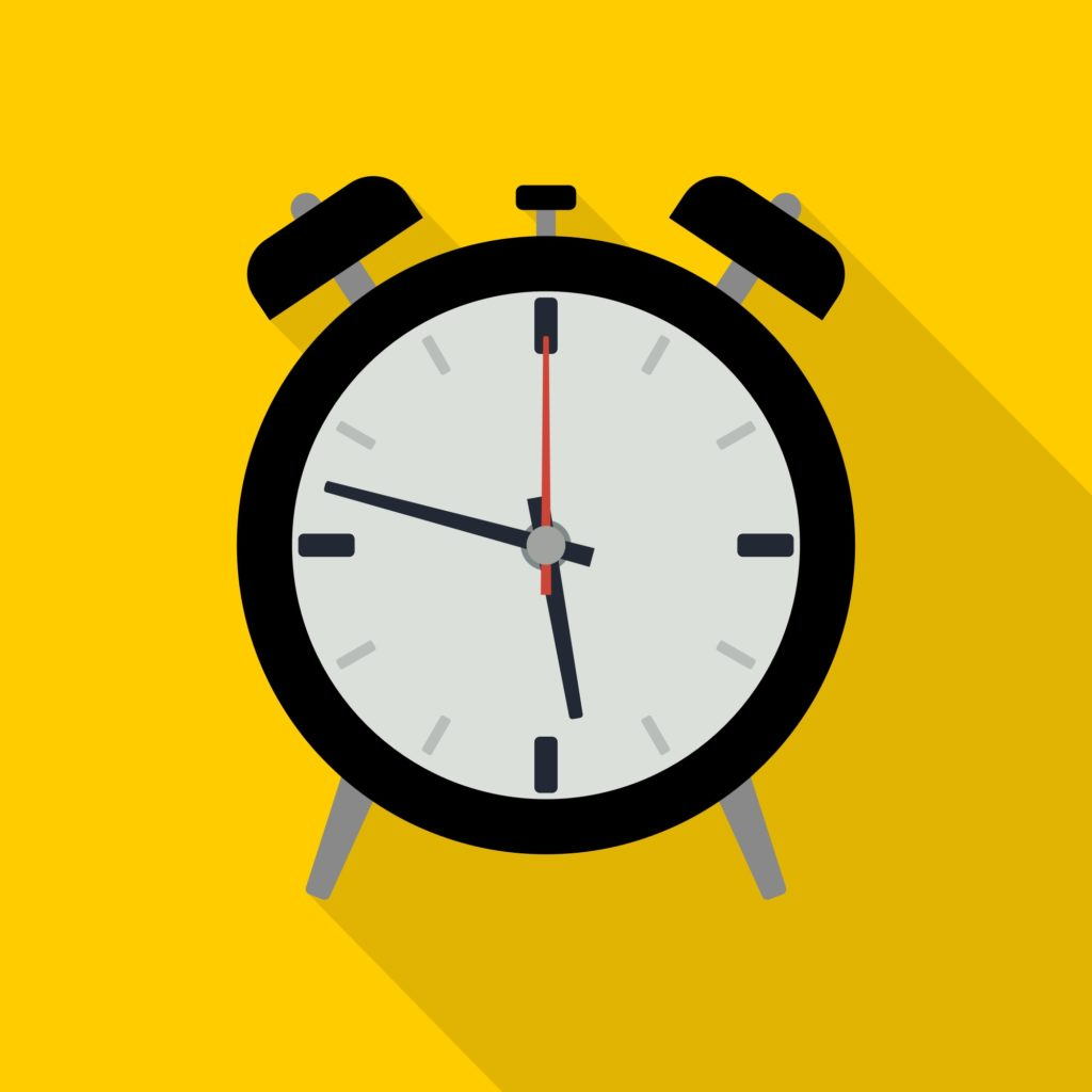Illustration of a clock on a yellow background