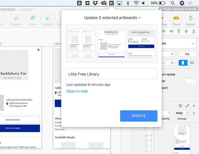 Screenshot of design wireframe syncing