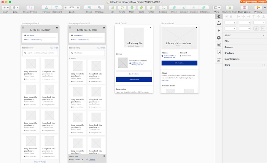 Screenshot of the overview of the app's wireframes