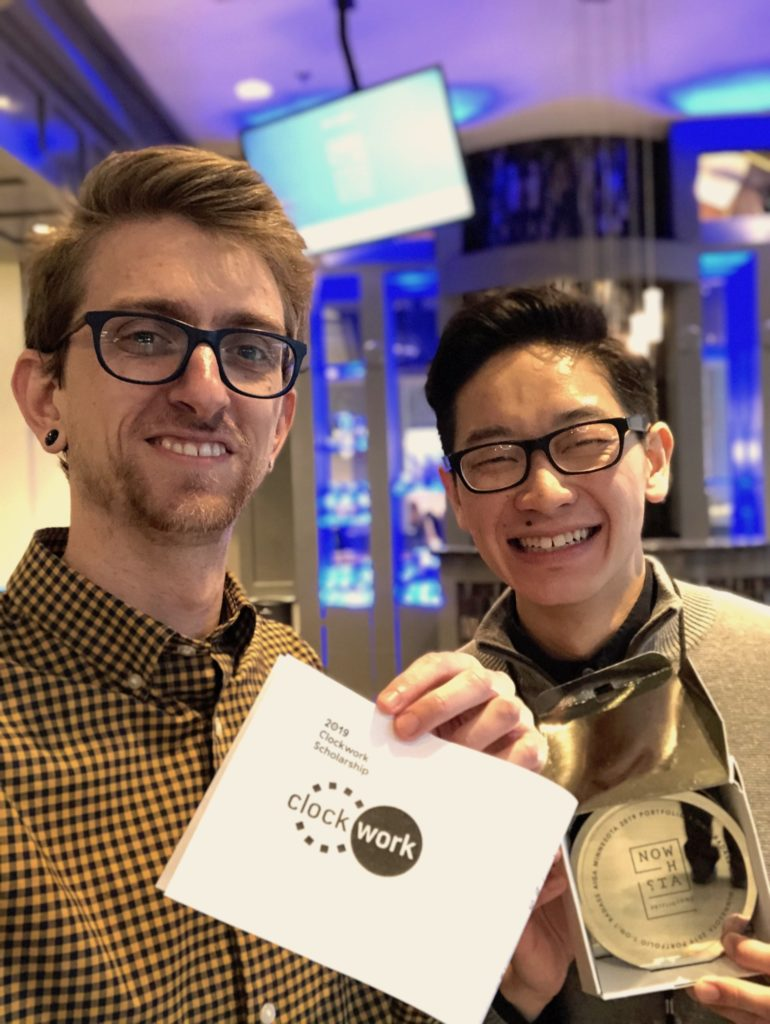 Micah Spieler and Jeffrey Yang with Clockwork AIGA Scholarship