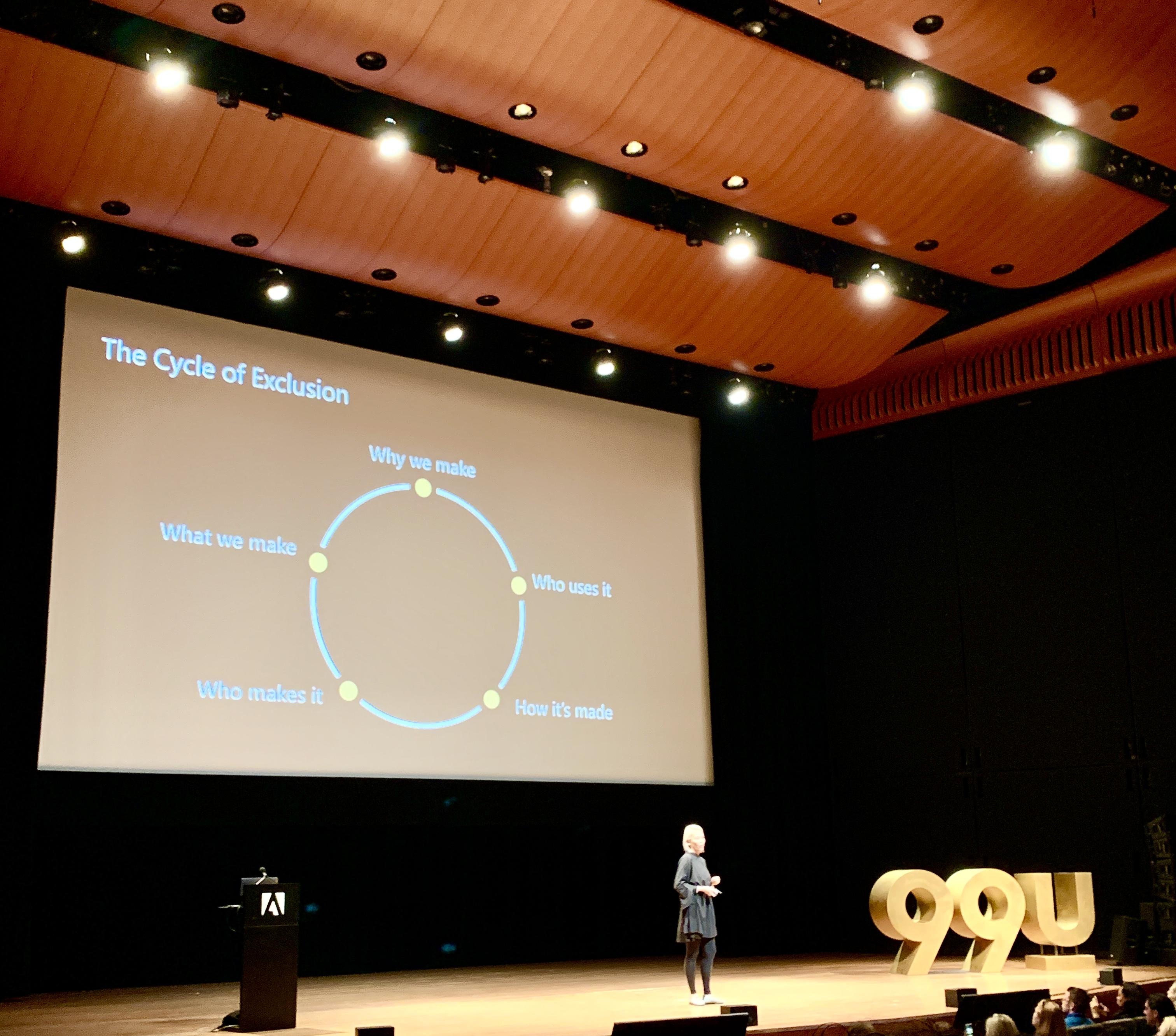 The 99U conference stage with presenter Kat Holmes