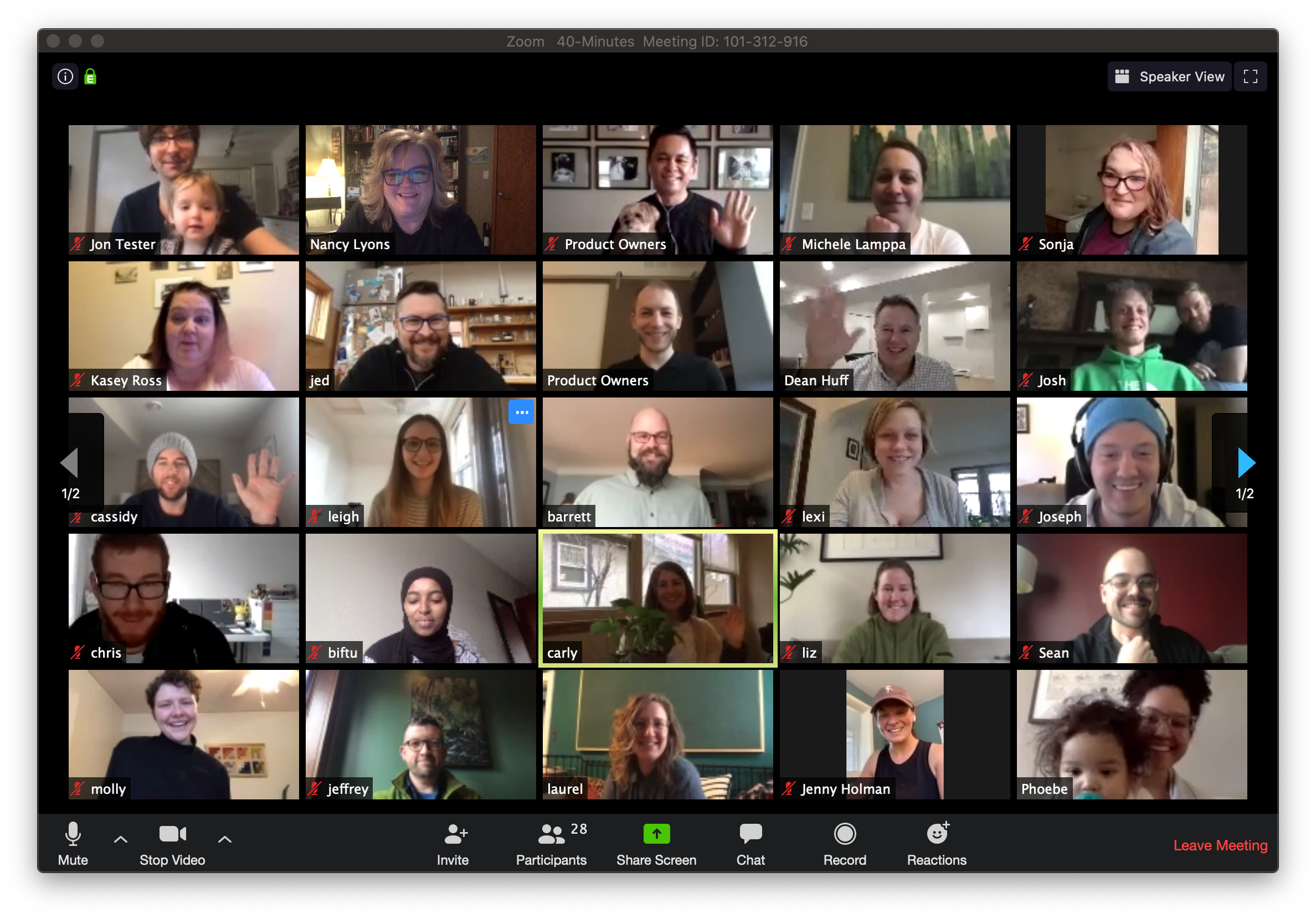 Clockworkers attend a company wide remote video meeting