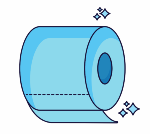 cartoon image of a roll of toilet paper