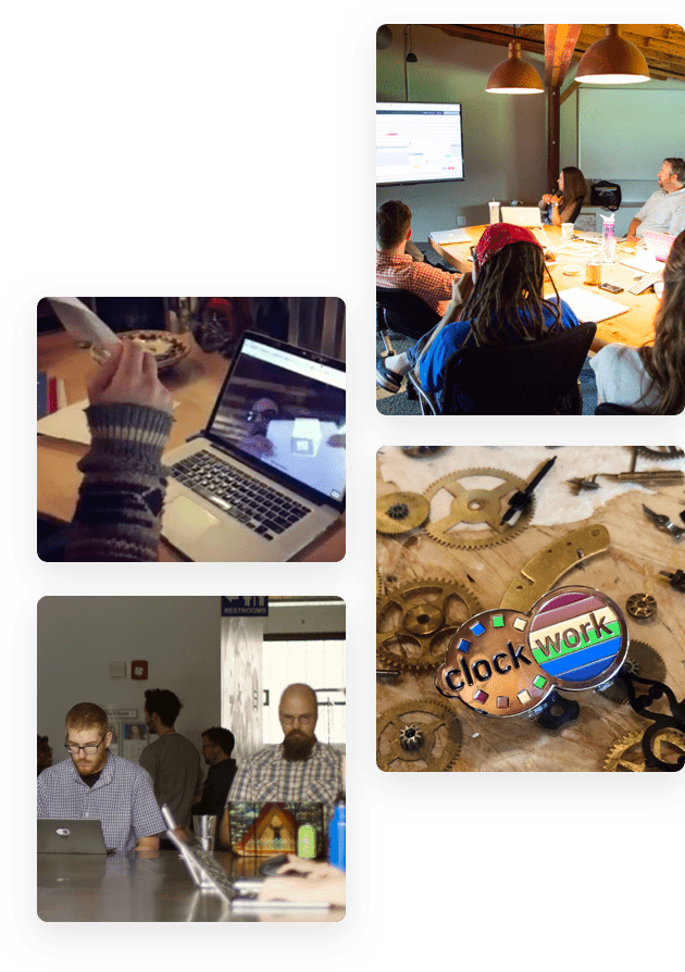 Collage of four images. People working in a conference room, at a table, a clockwork pin, and a laptop.