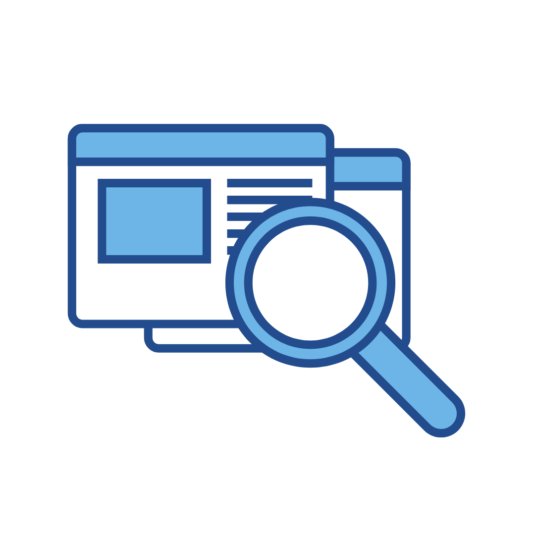 a magnifying glass inspecting layered accessible websites