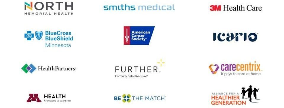 Client logos: North Memorial, Smiths Medical, 3M Health Care, BlueCross Blueshield Minnesota, American Cancer Society, iCario, HealthPartners, Further, CareCentrix, M Health, Be the Match, Alliance for a Healthier Generation