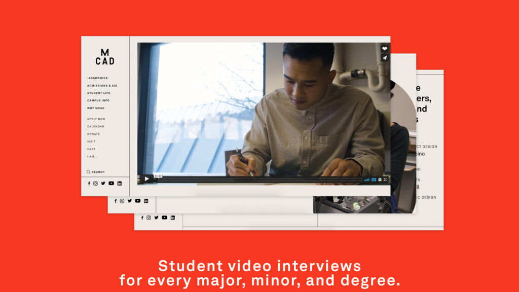 Student video interviews for every major, minor, and degree. Image shows a screengrab of the MCAD site. The website shows a video of a student drawing.